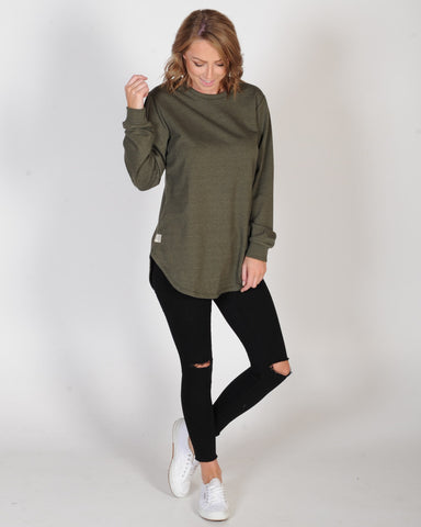 ALL ABOUT EVE LONGLINE JUMPER - KHAKI MARLE