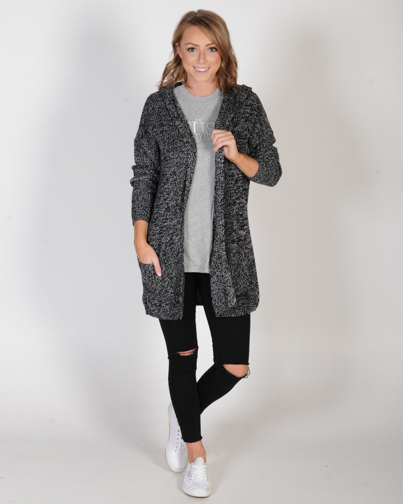 ALL ABOUT EVE ON THE MOVE HOODED CARDI - BLACK MARLE
