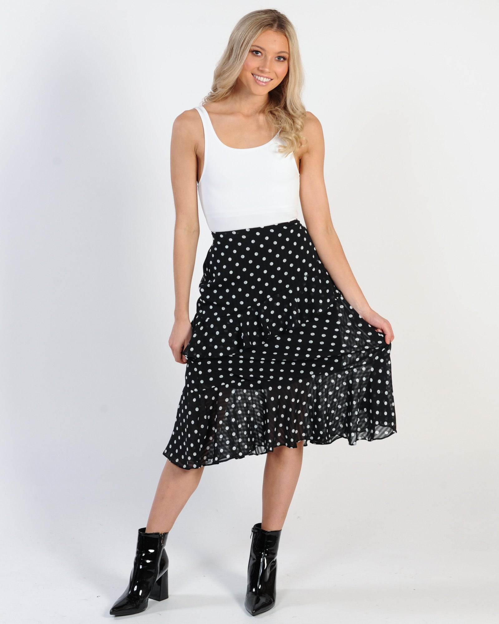 Holiday Fling Midi Skirt - White Spot