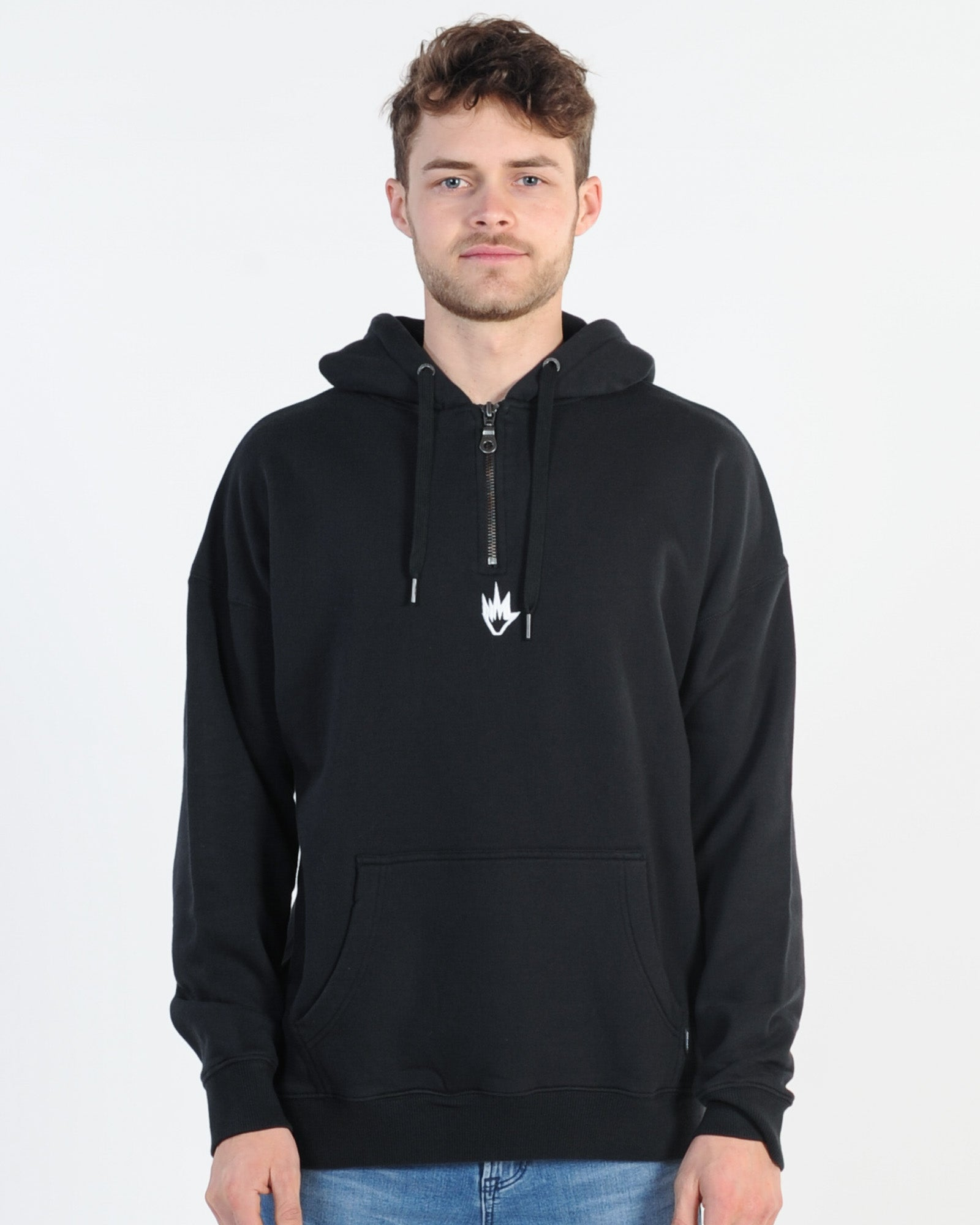 Afends Contrast 1/2 Zip Hood Sweat - Black