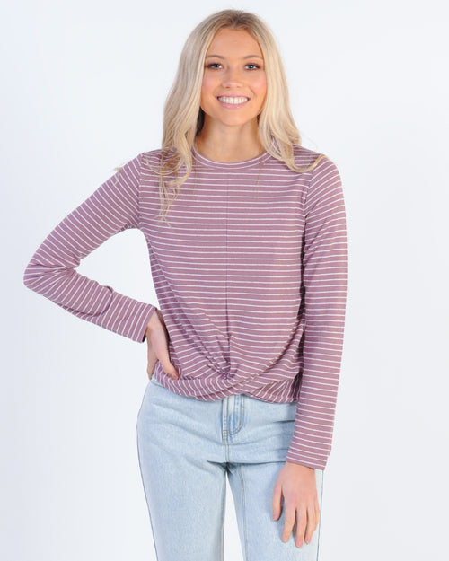 The Fifth Label Digital Stripe Top - Mauve/White