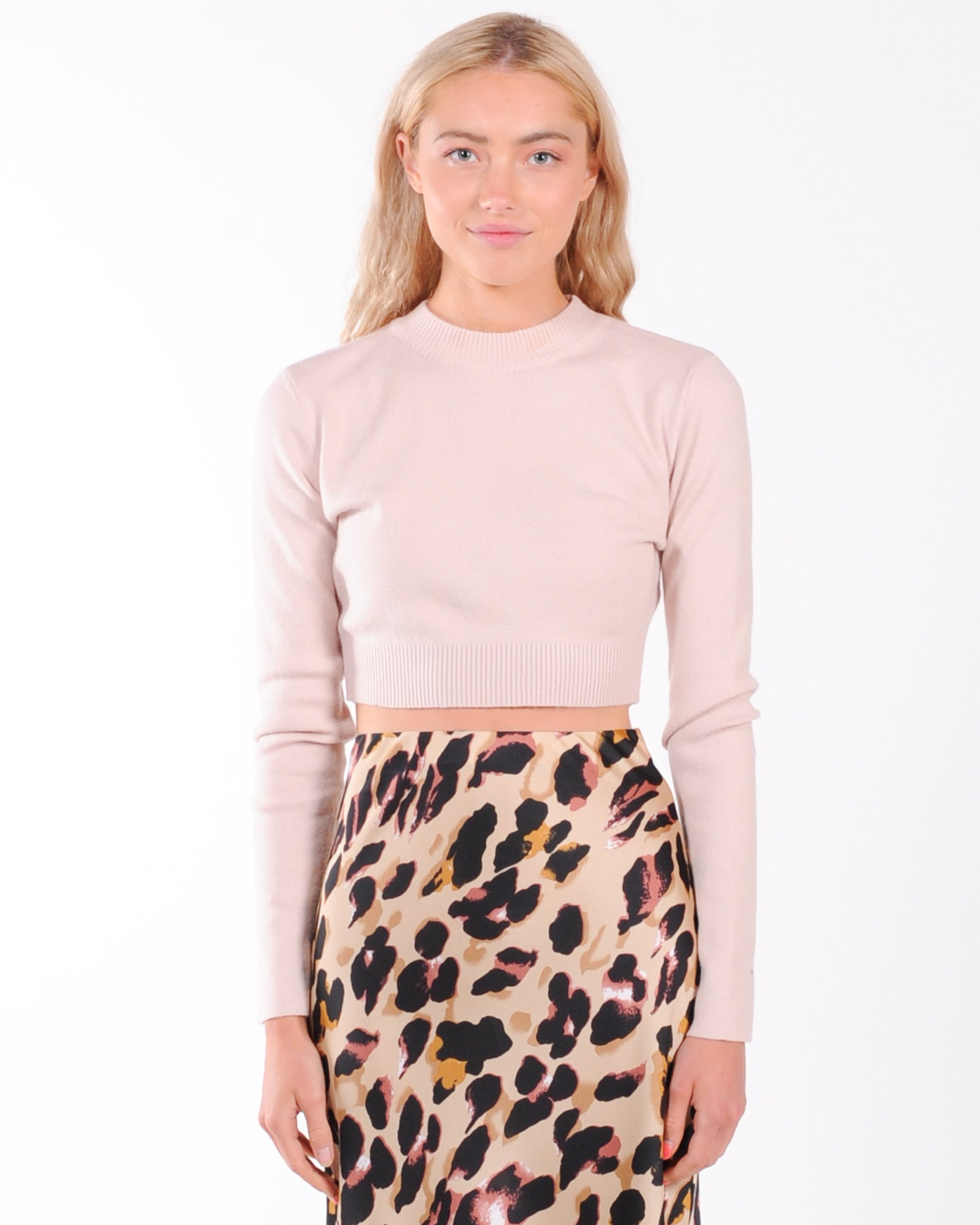 Lonely Heart Crop Knit Top - Blush
