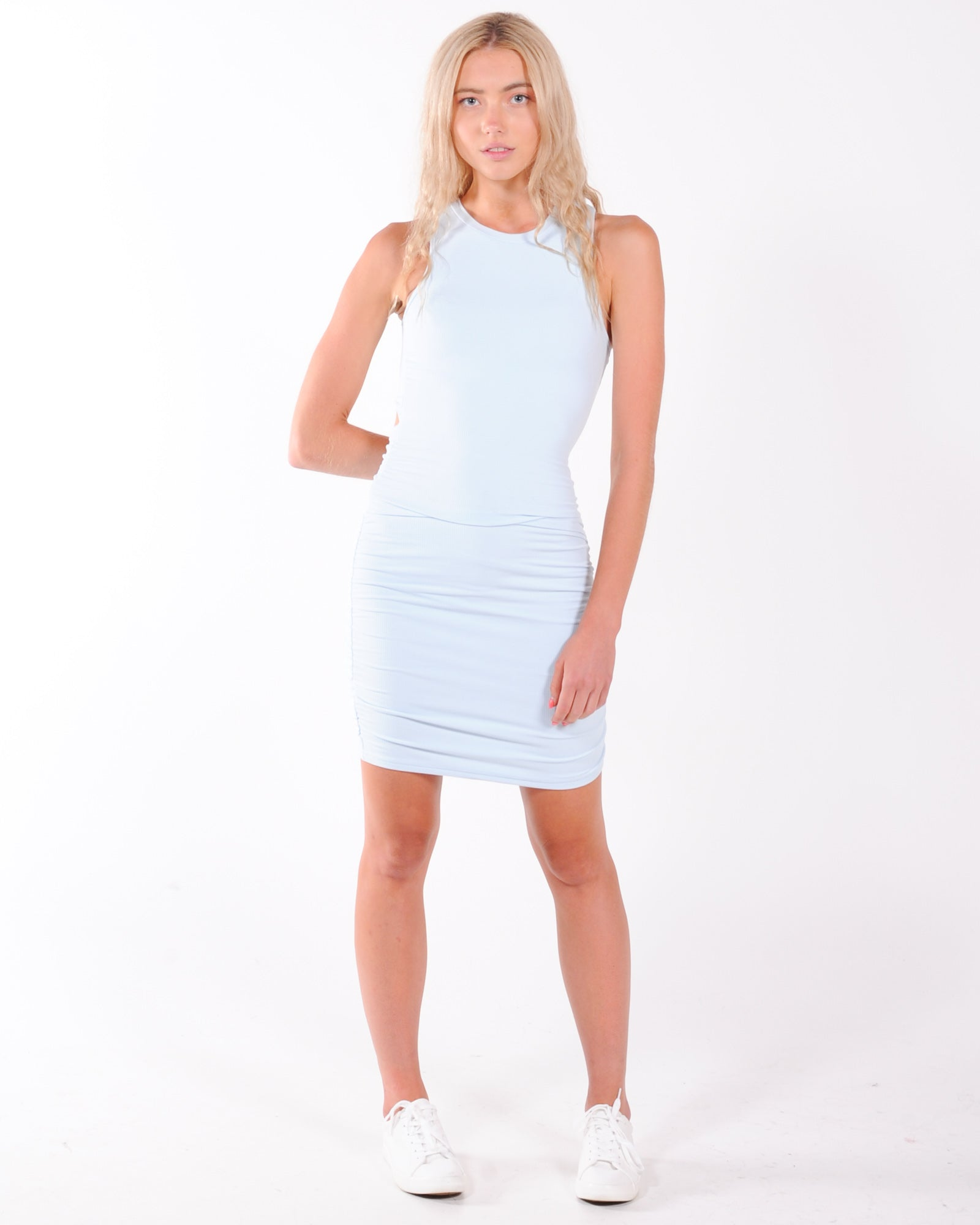 Bold & Beautiful Ribbed Dress - Blue