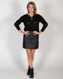 INSPIRE ME LEATHER SKIRT - BLACK