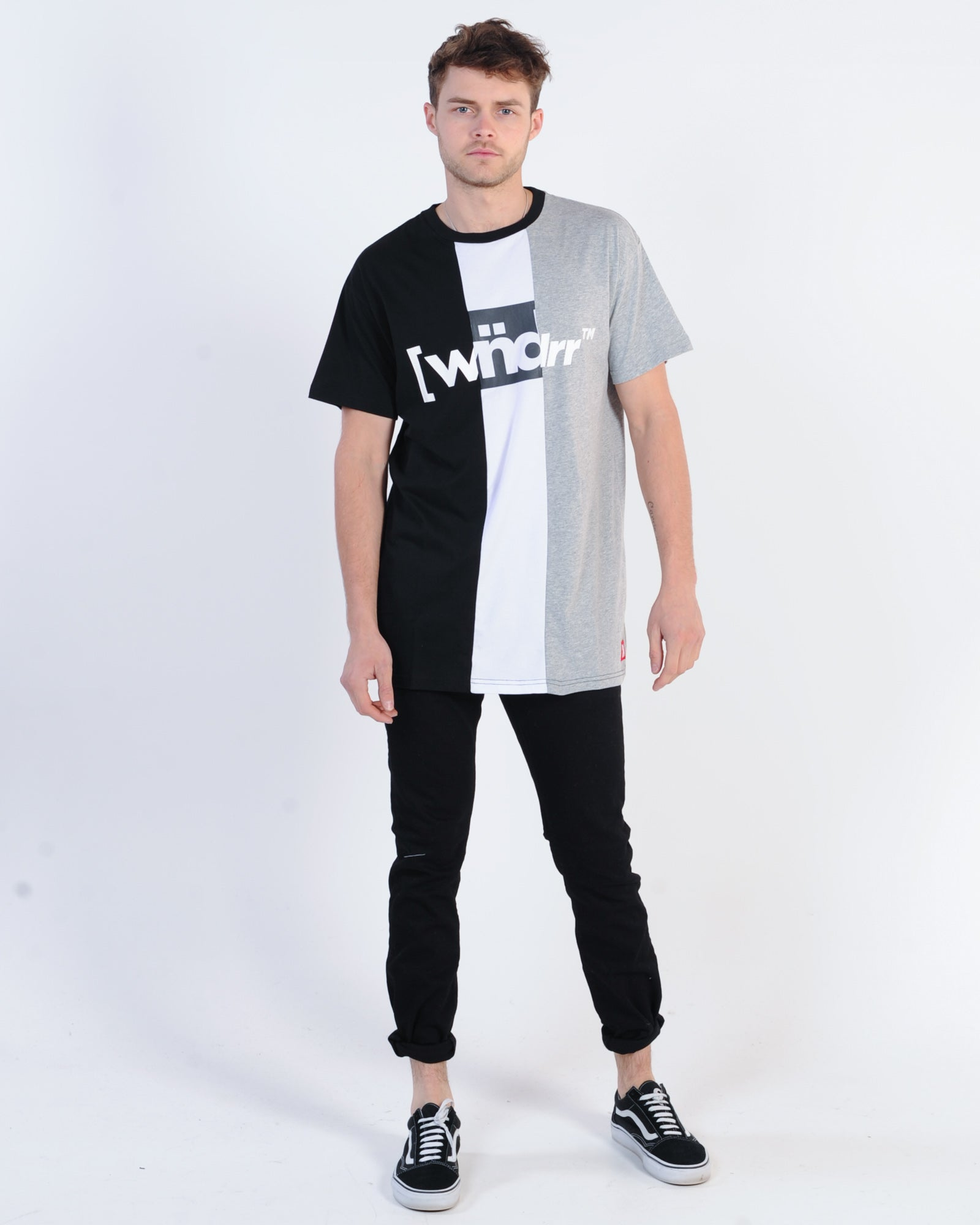 Wndrr 3 Peat Vert Panel Tee - Black/White/Grey