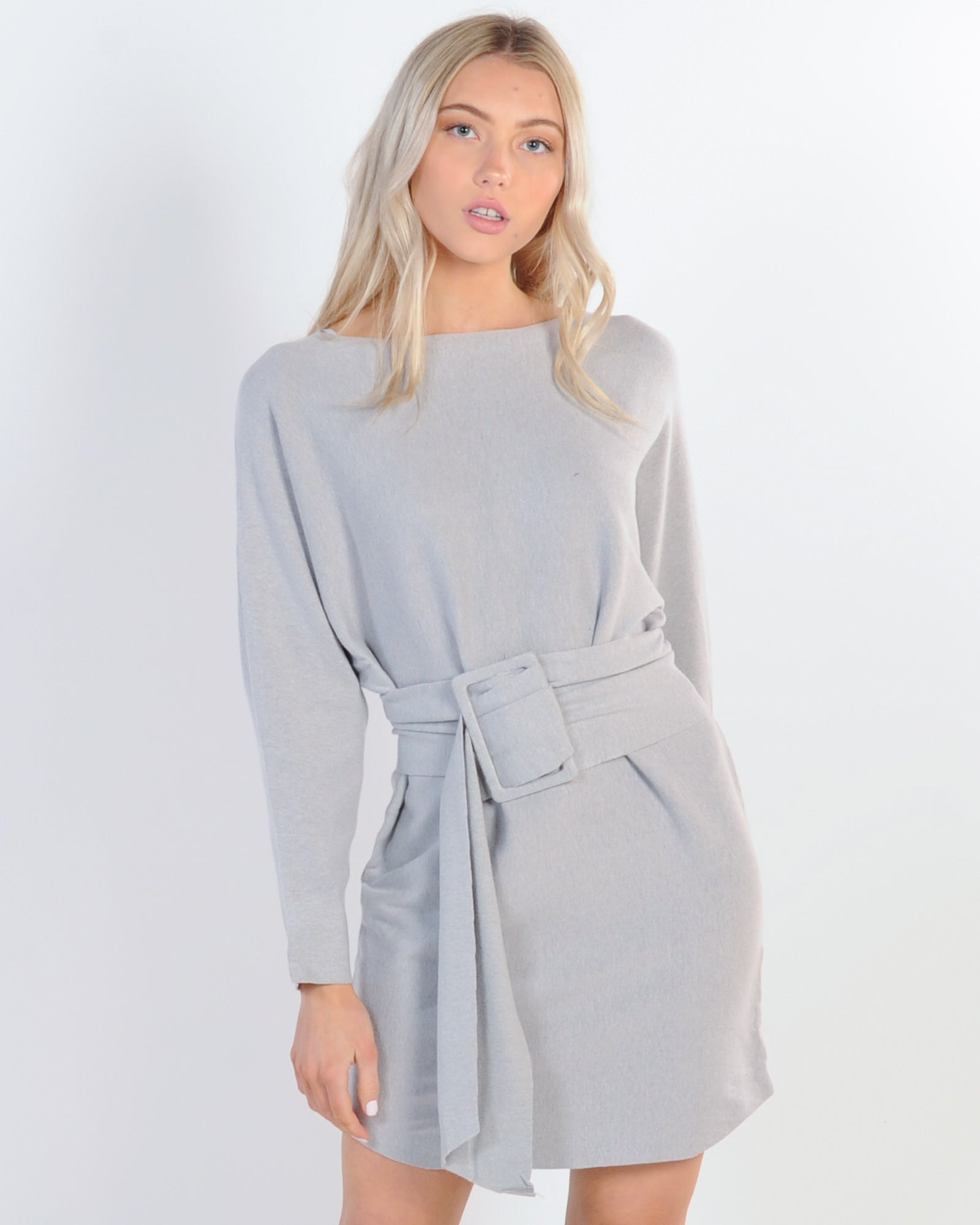 Keep It Simple Knit Dress - Grey