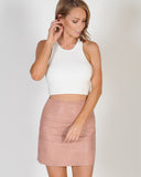 INSPIRE ME LEATHER SKIRT - PINK