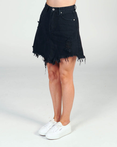 Madison The Label Jaymee Denim Skirt - Black