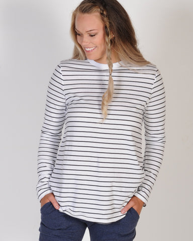 THE FIFTH LABEL AROUND THE WORLD L/SLEEVE TOP - BLACK/WHITE STRIPE