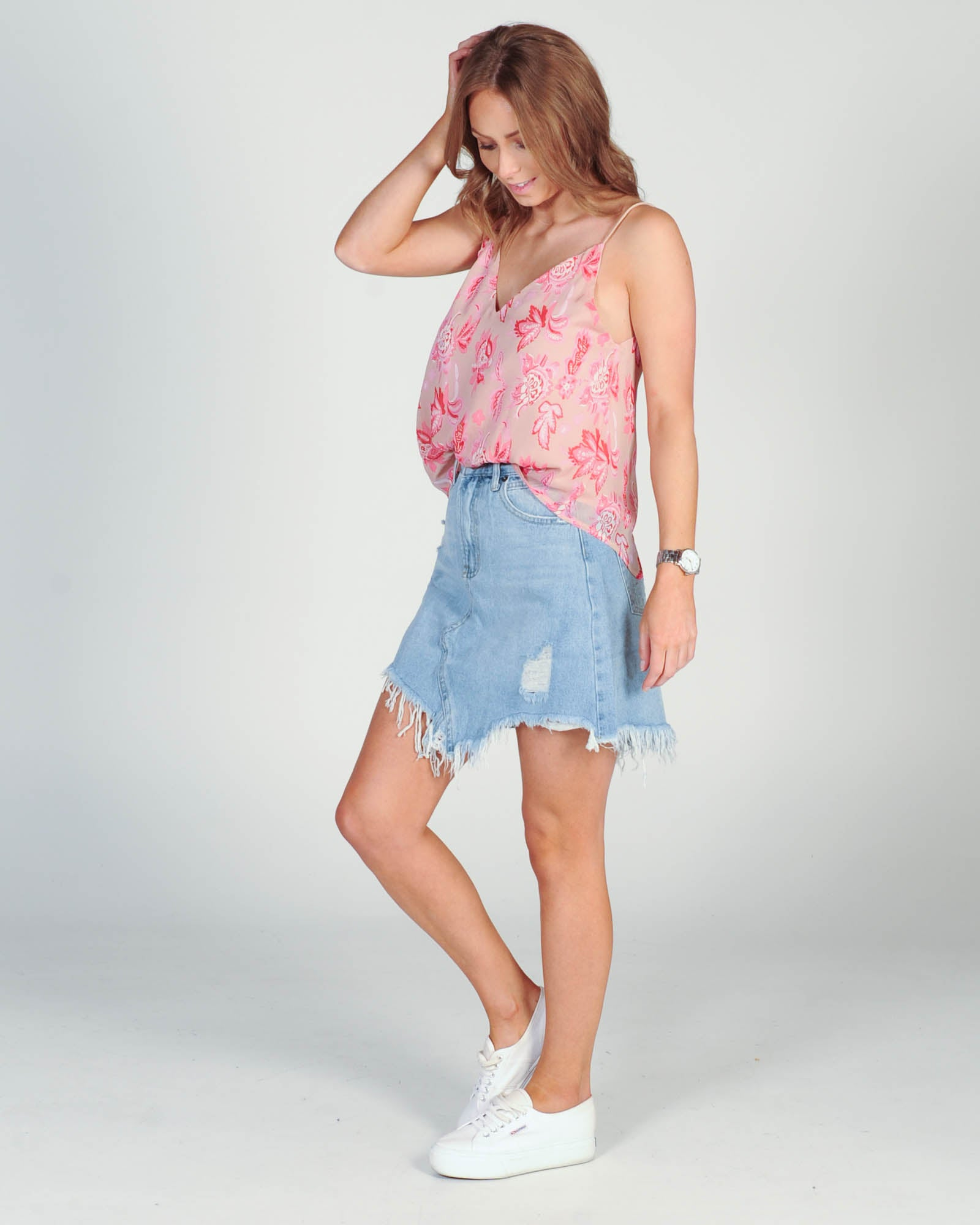 Madison The Label Jaymee Denim Skirt - Denim Blue