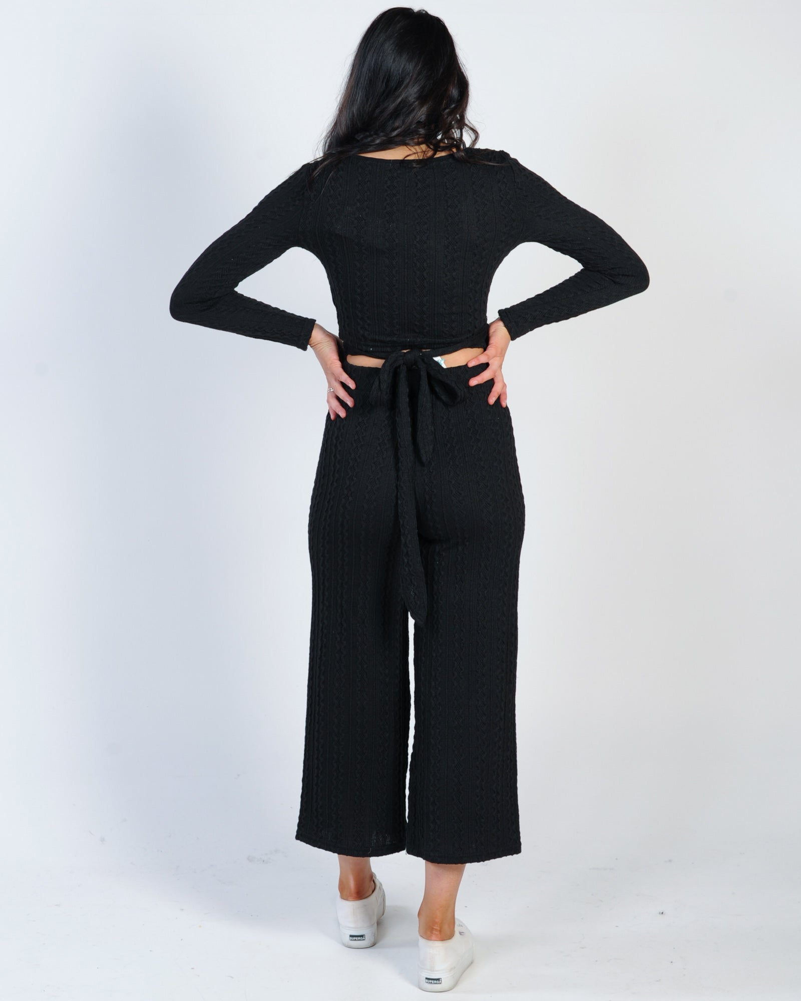 Lounge Around Wrap Top - Black