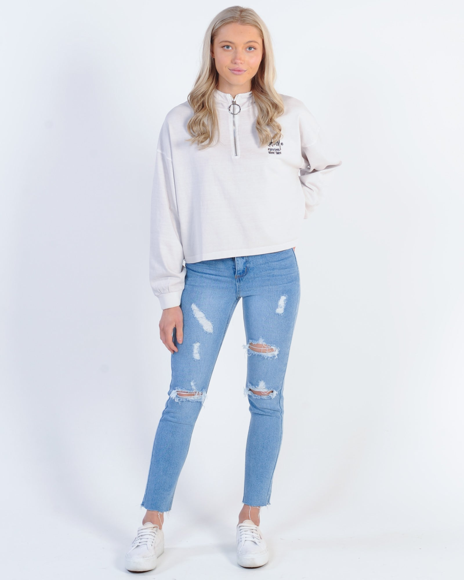 Stussy Connor Zip Up Sweat - White Sand