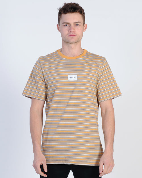 Rvca Focus Stripe S/S Tee - Dusty Yellow