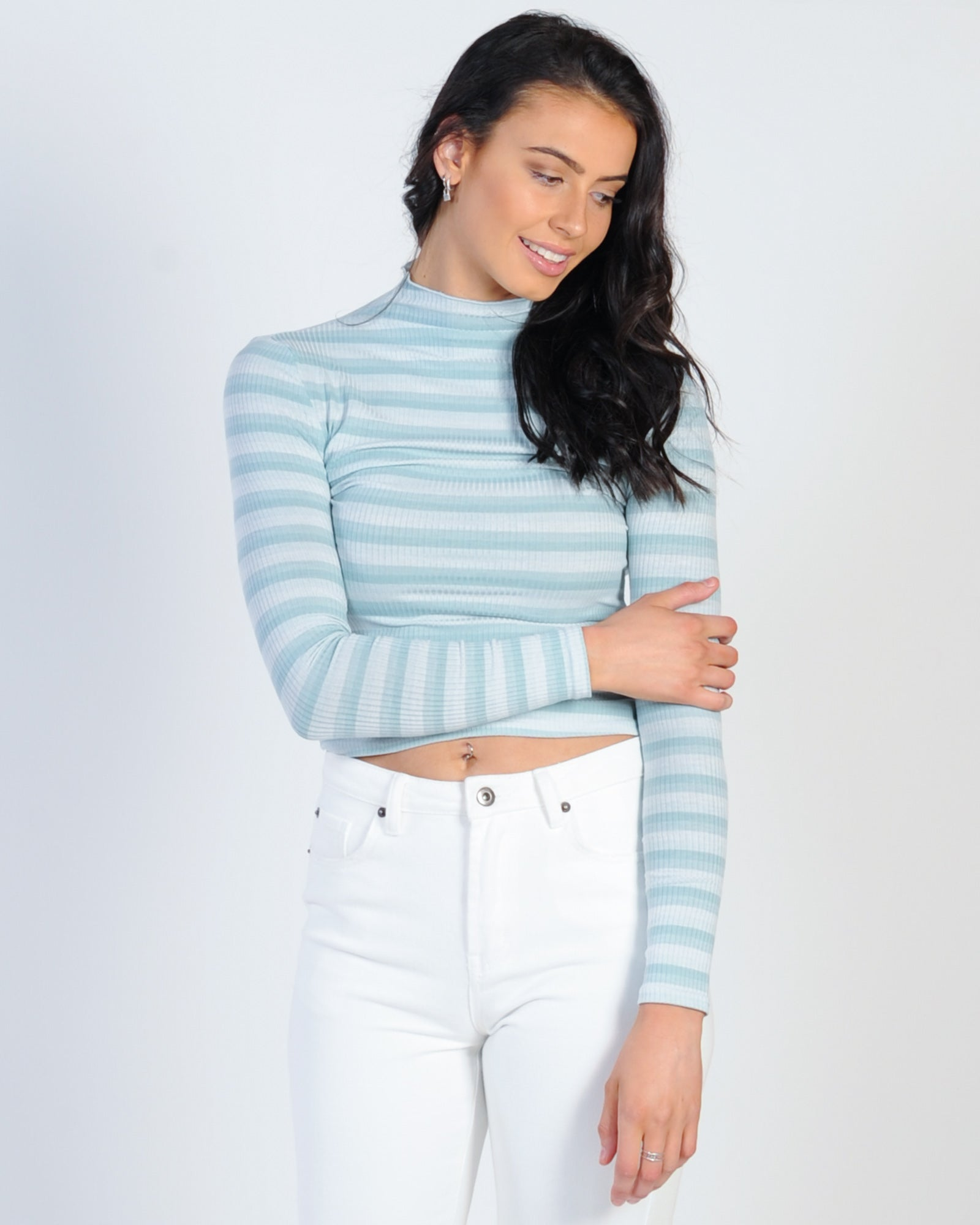Born Free Ribbed Top - Green Stripe