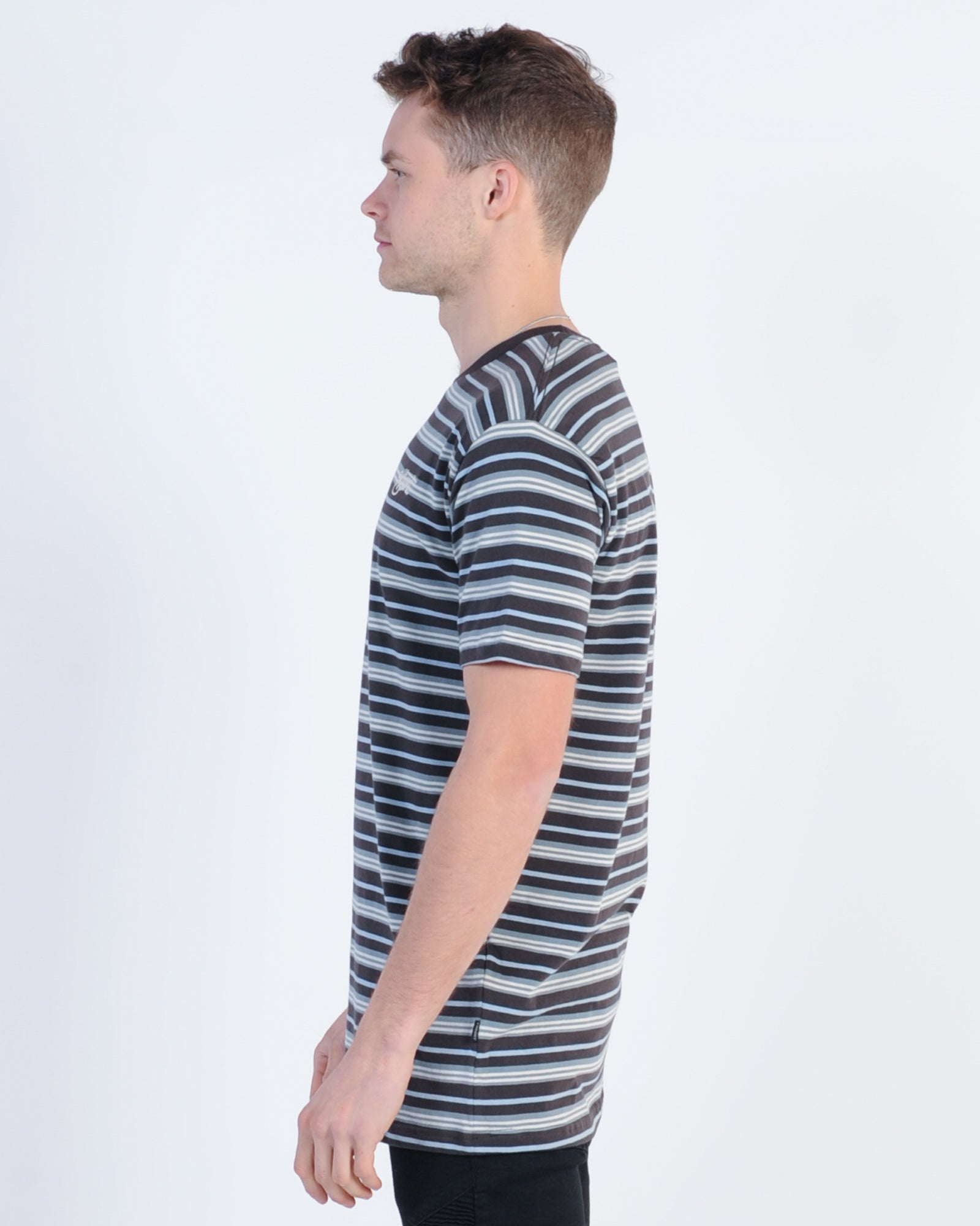 Silent Theory Steady Stripe Tee - Iron Stripe