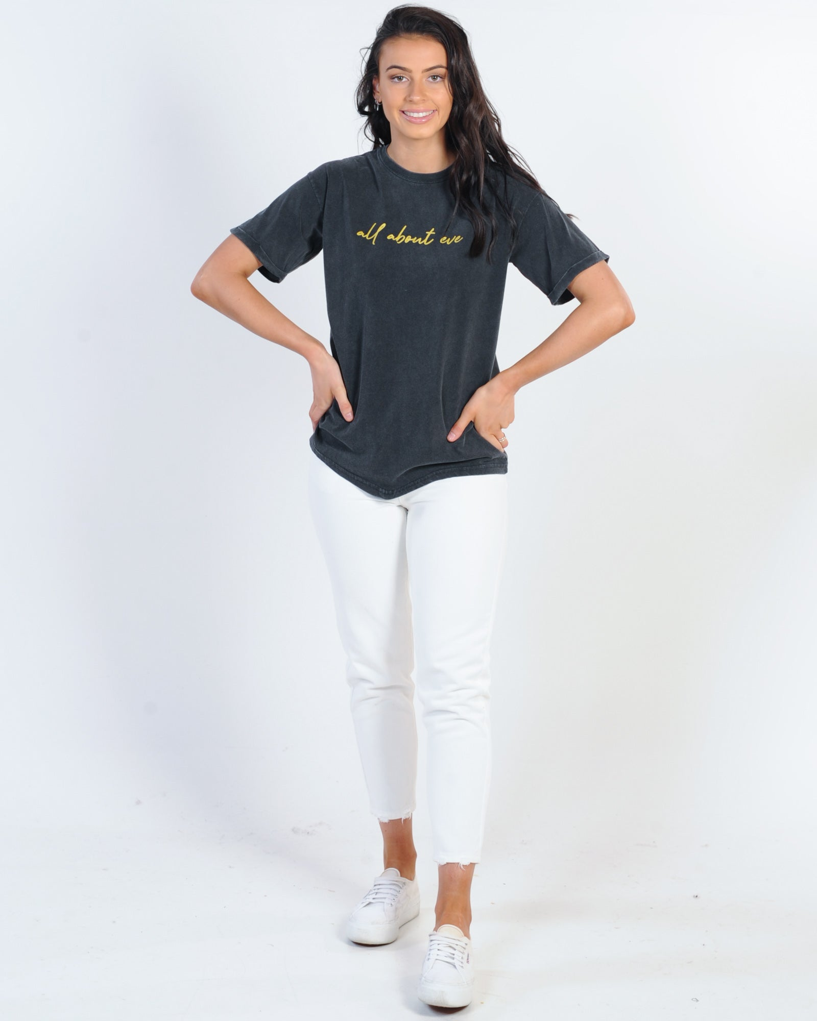 All About Eve Script Tie Tee - Washed Black