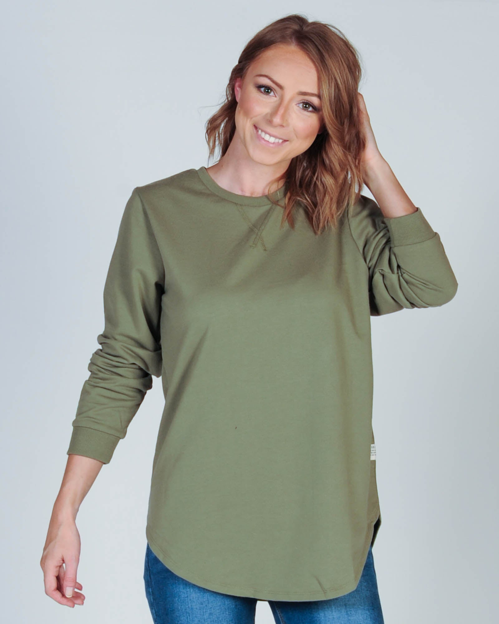 ALL ABOUT EVE CHASE LONGLINE JUMPER - KHAKI
