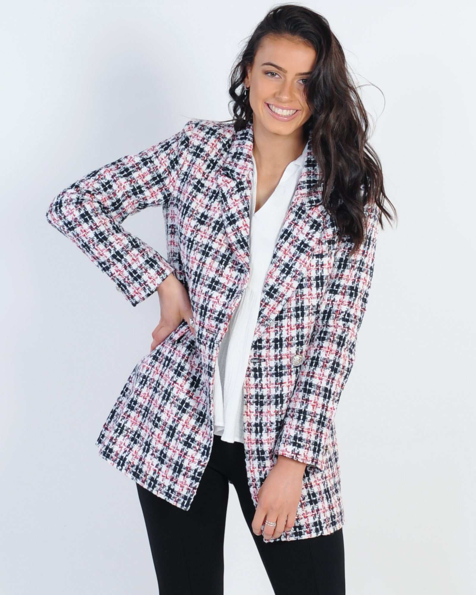 Madison The Label Aisha Tweed Blazer - Multi
