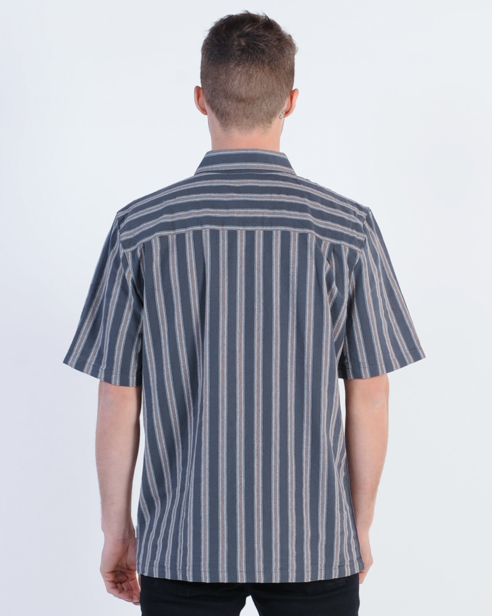 Afends Checkout S/S Shirt - Navy