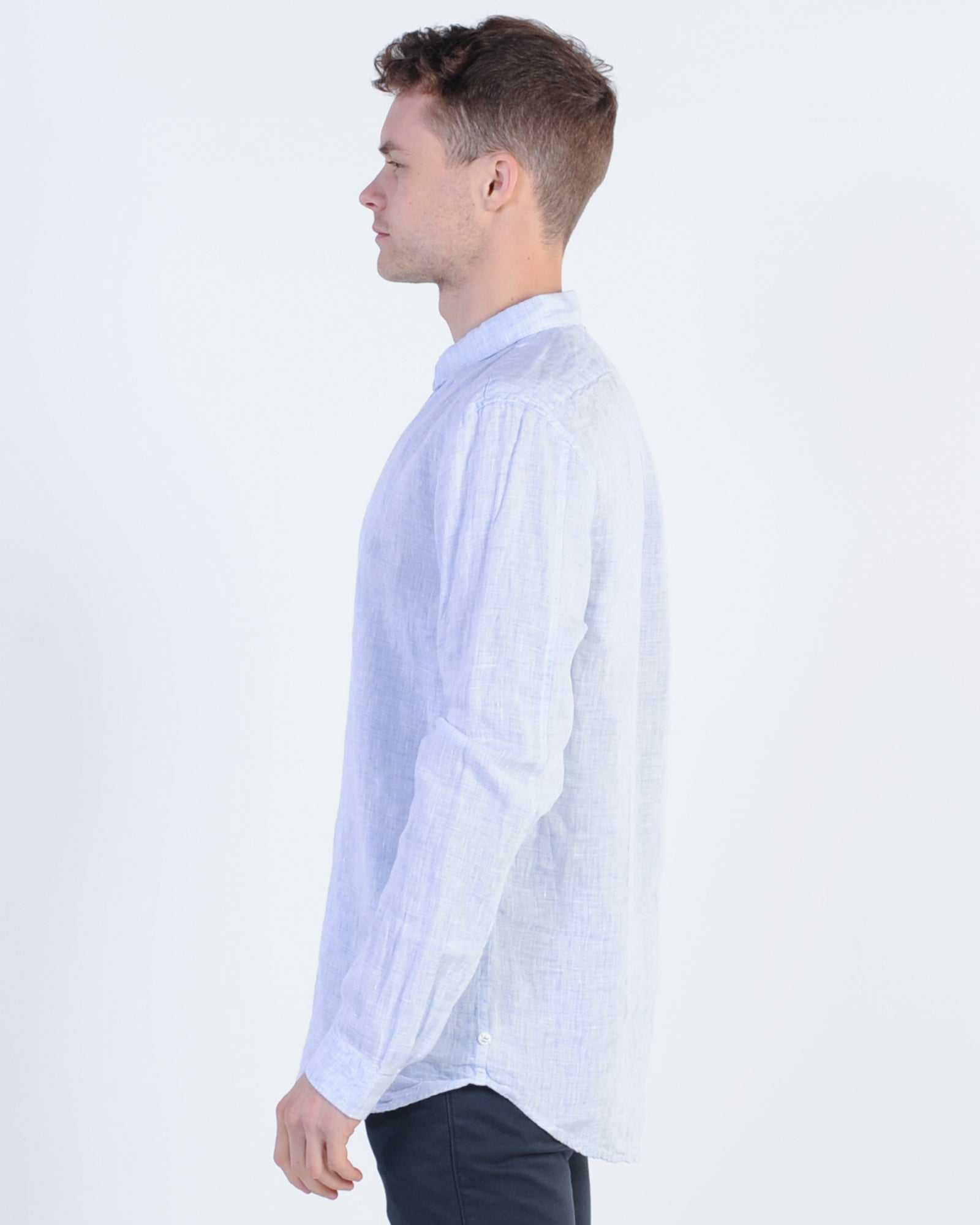 Industrie Thorne Linen L/S Shirt - Blue