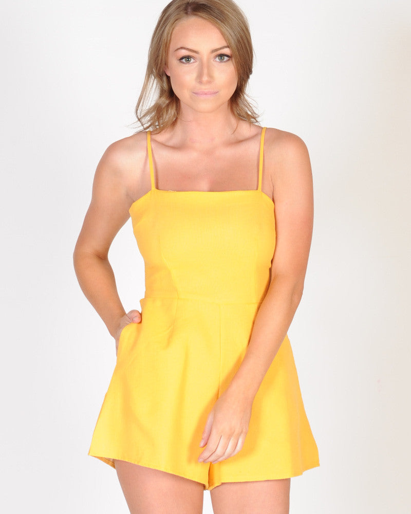 GIRL CLUB PLAYSUIT - MUSTARD