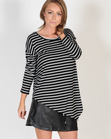 MOST WANTED L/S TOP - WHITE STRIPE