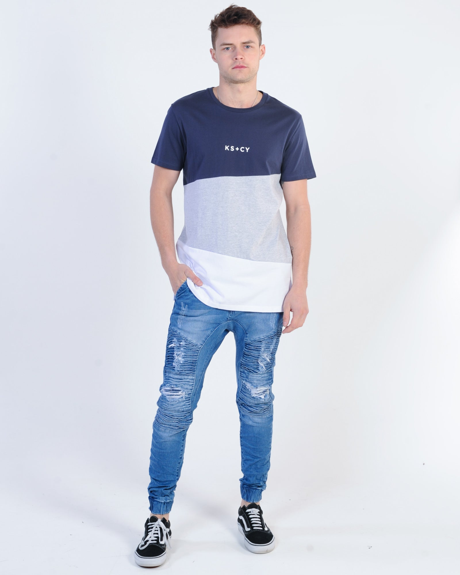 Kiss Chacey Future Tall Tee - Navy/Grey/White