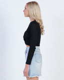 GIRL TALK SUEDE SKIRT - BLACK