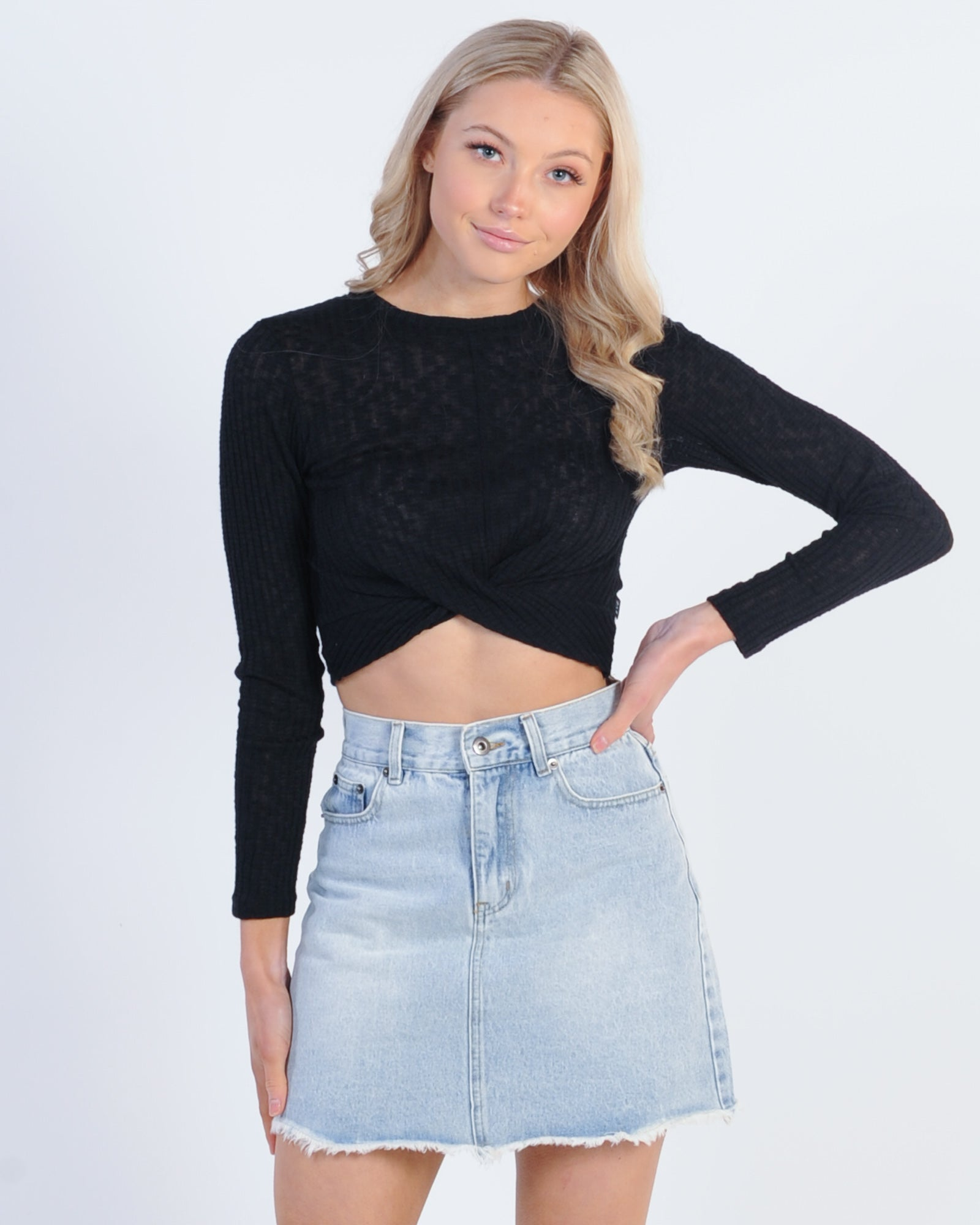 All About Eve Twist Textured L/S Top - Black
