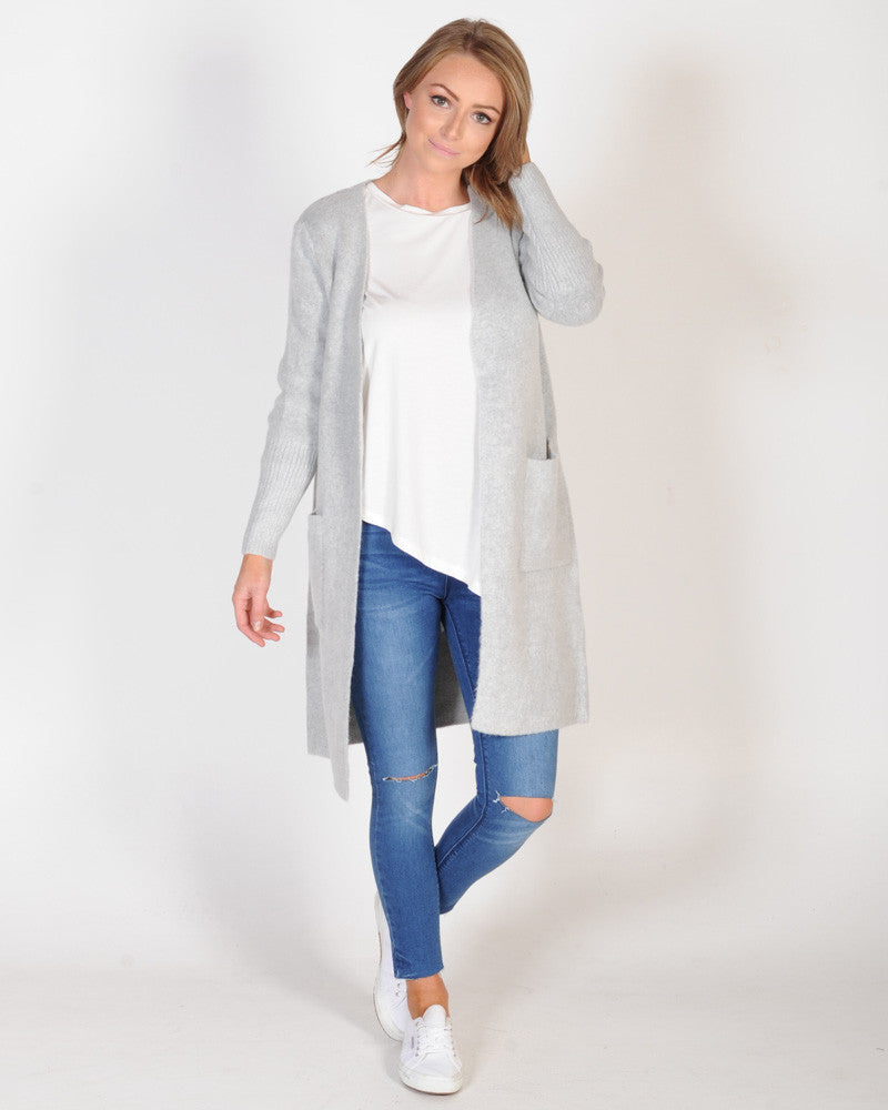 DOWN TWON CARDIGAN - GREY MARLE