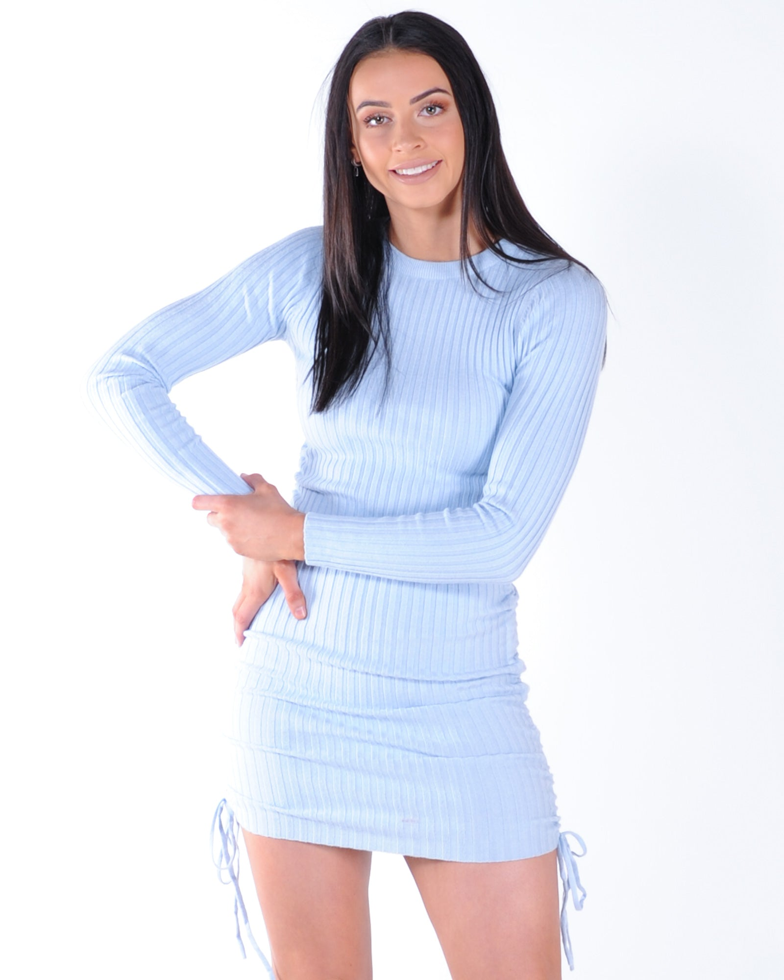 Cover Girl Ribbed Knit Dress - Blue