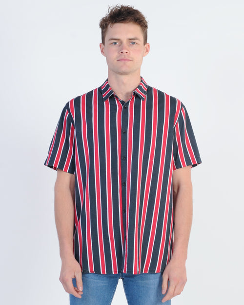 Wndrr Palace Vert Stripe S/S Shirt - Navy/Red/White