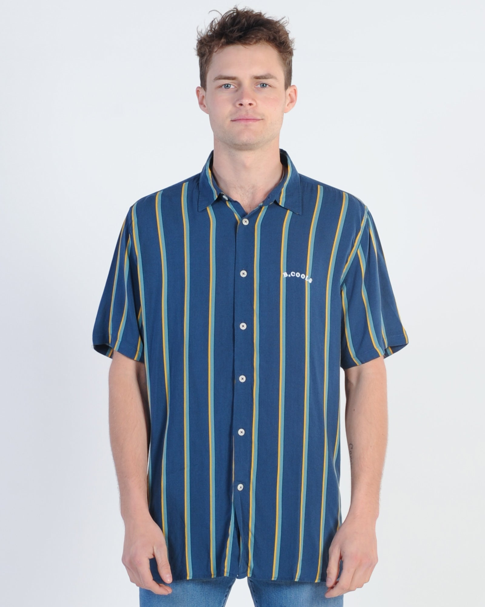 Barney Cools Holiday Vert Stripe S/S Shirt - Navy