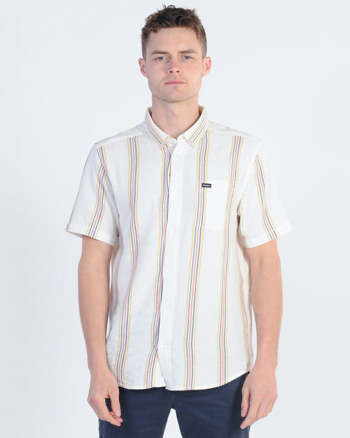 Rvca Split Stripe S/S Shirt - White