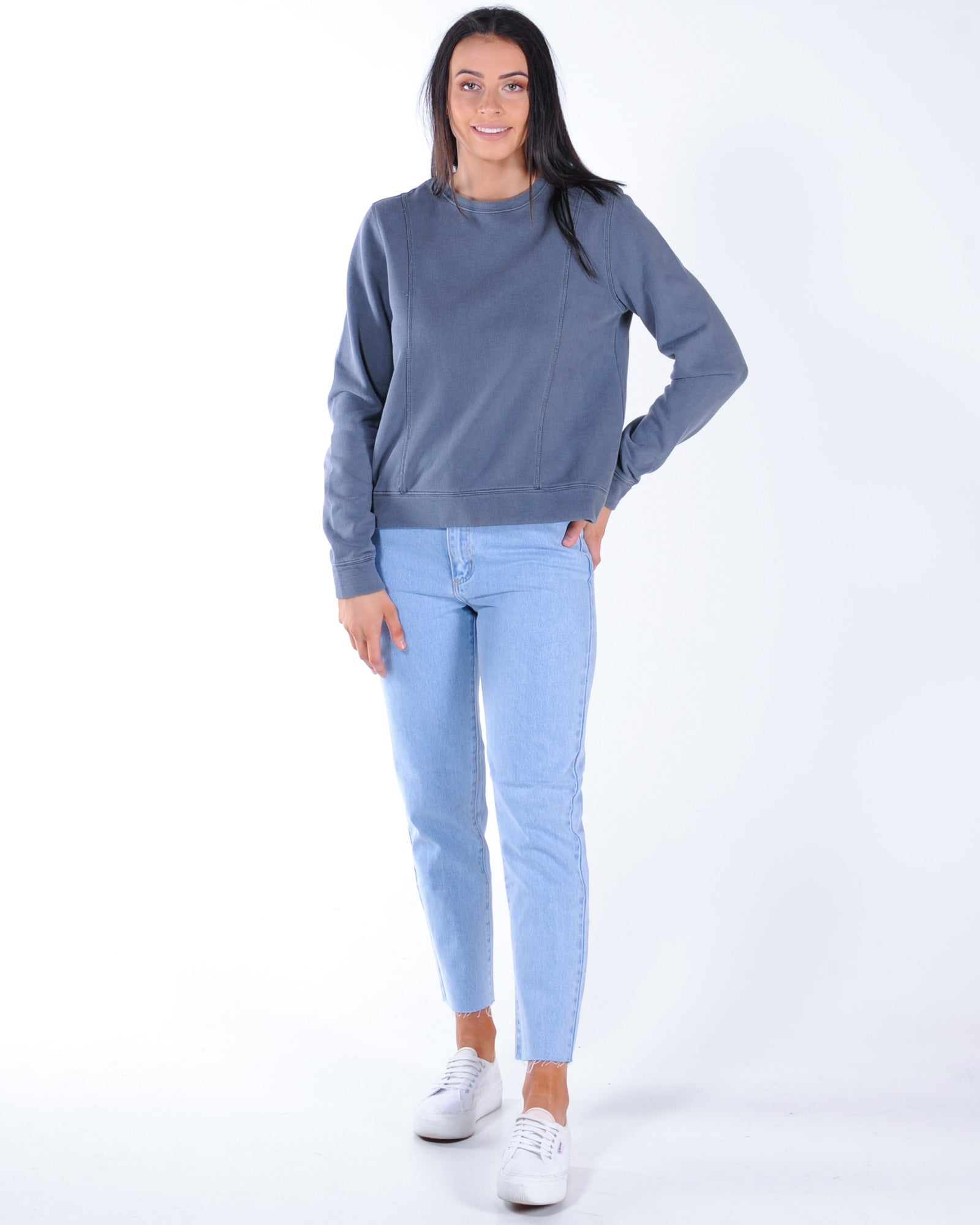 All About Eve Arnhem Panelled Crew Sweat - Charcoal