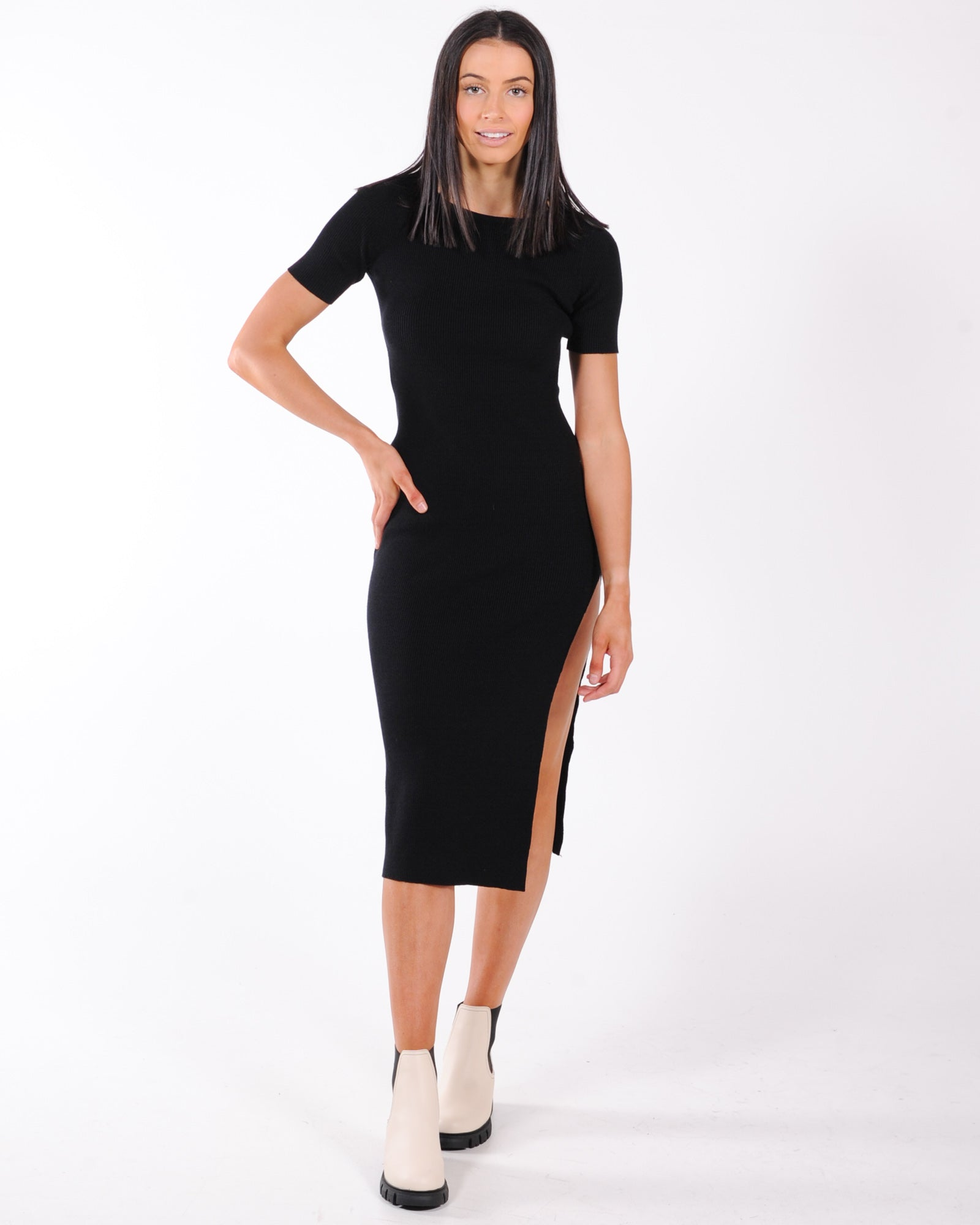 Best Of Both Worlds Knit Dress - Black