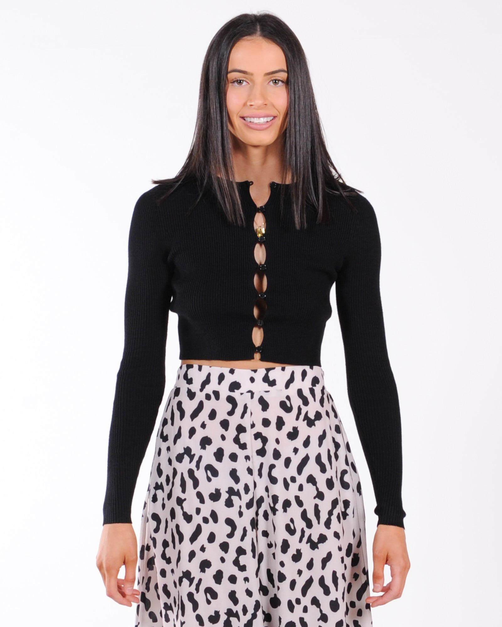 Lioness Fame Cropped Cardi - Black