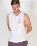 DTB SUPPLY MONOGRAM MUSCLE TOP - WHITE