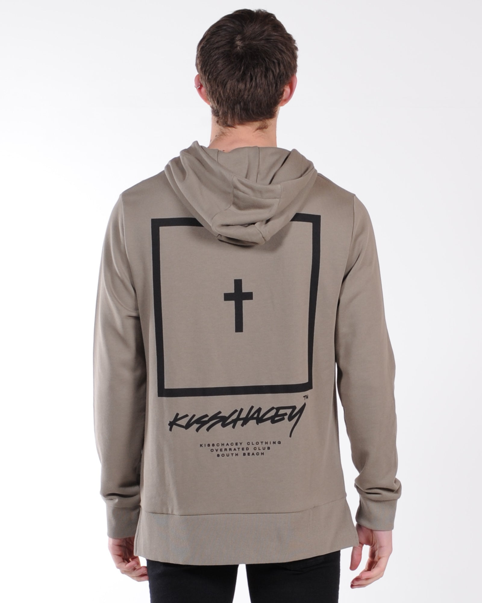 Kiss Chasey Synthetic Hooded Sweat - Khaki