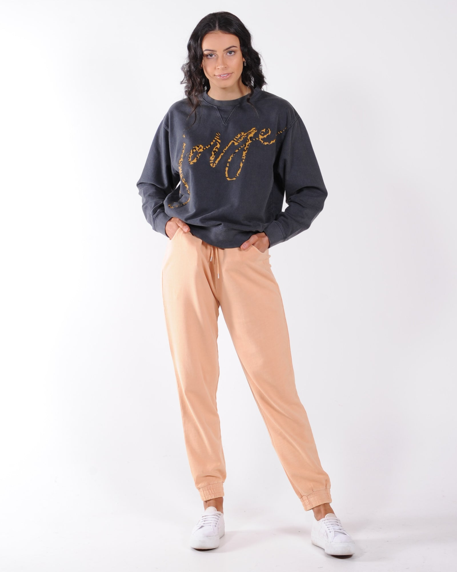 Silent Theory Acid Wash Jogger - Peach