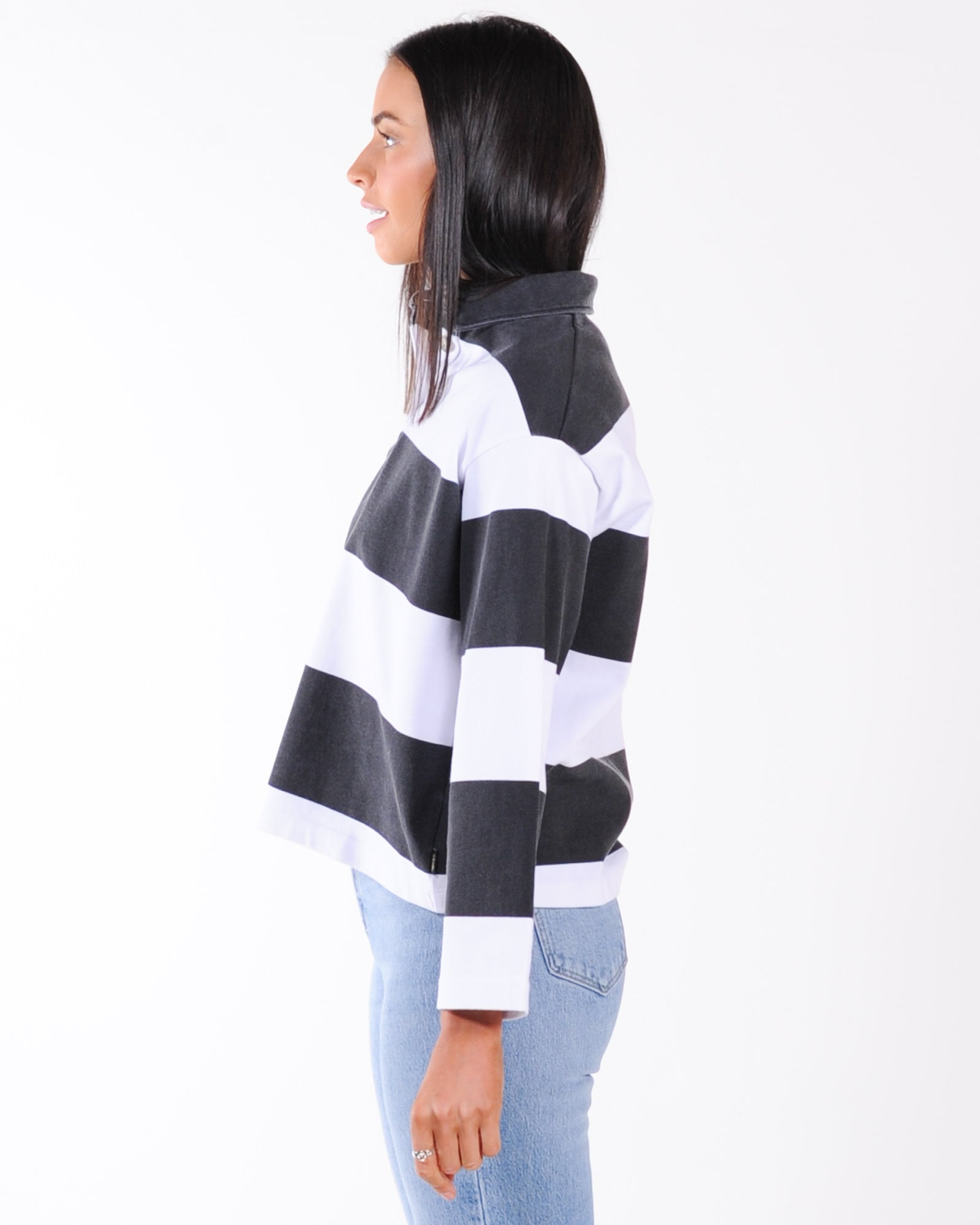 Afends Fadey Stripe Weighted Collared L/S Tee - Black