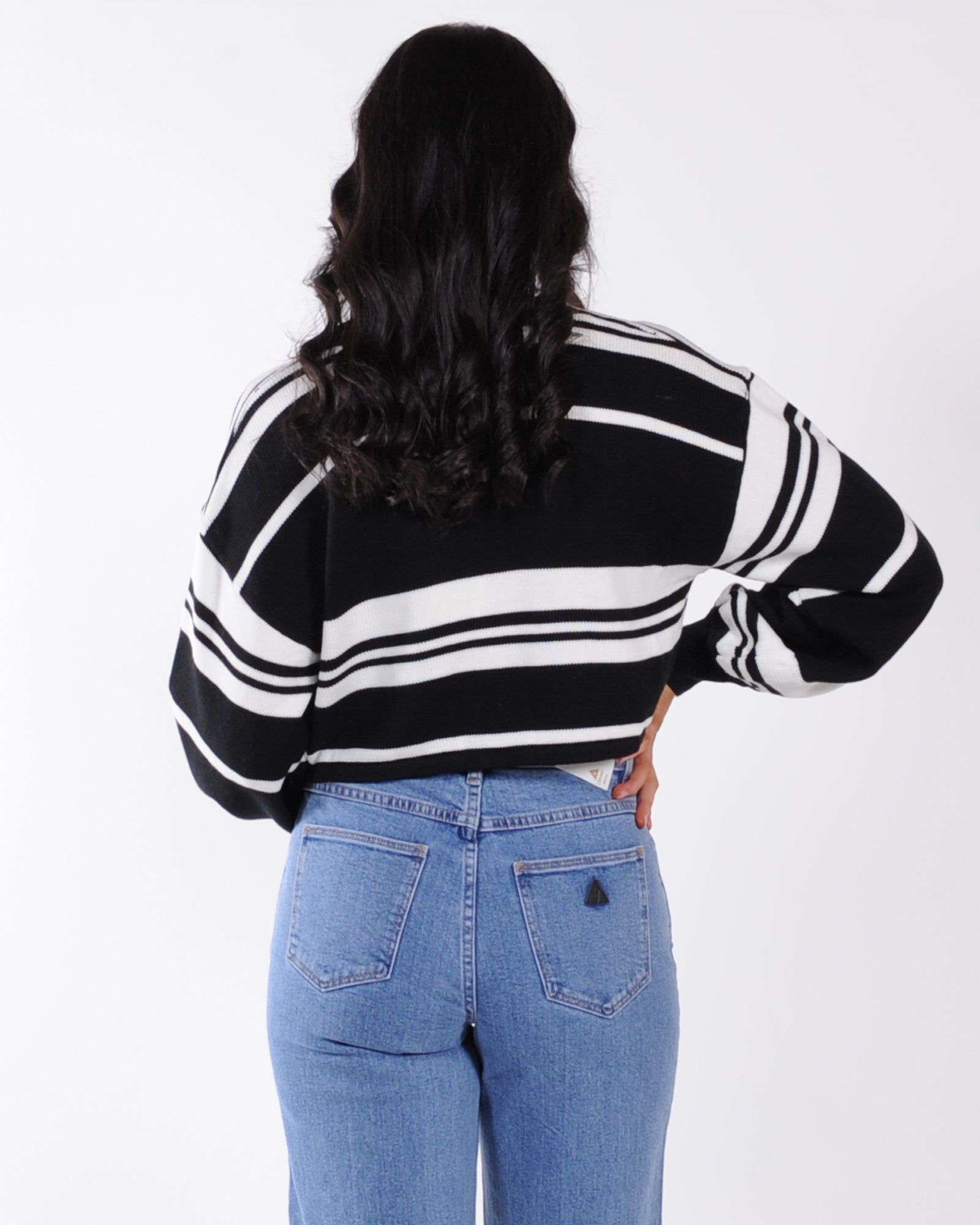 On Trend Knit Top - Black Stripe