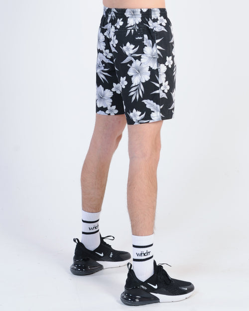 Wndrr Holiday Floral Beach Short - Black Floral