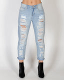 DISTRESSED JEAN - WASHED BLUE