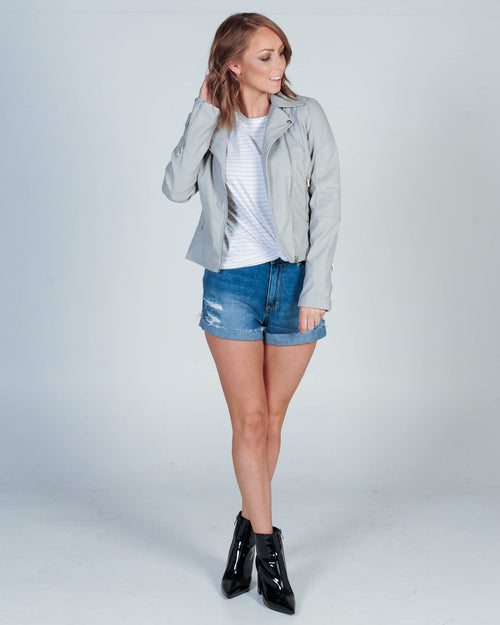 This Is Me Leather Jacket - Grey