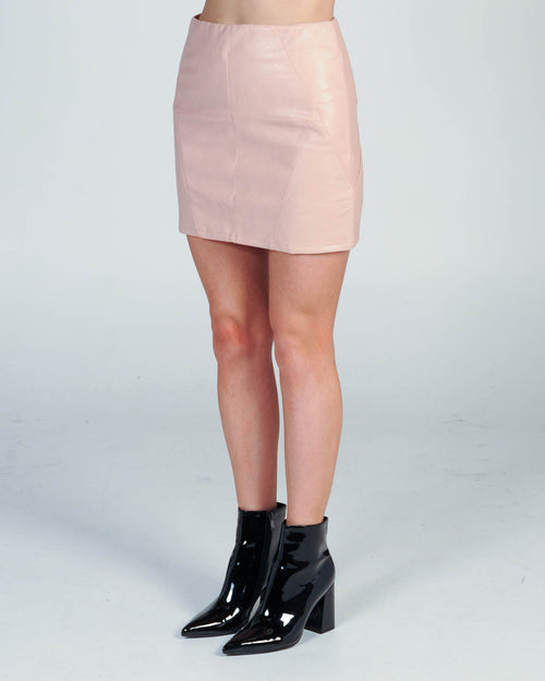 Lucky Leather Skirt - Pink