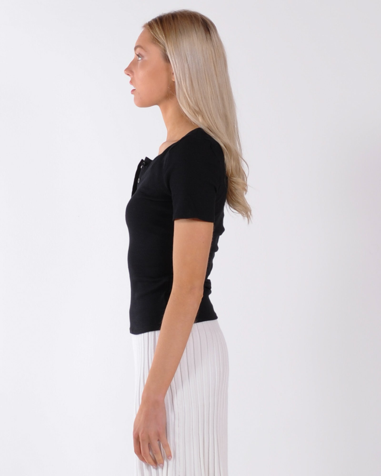 Hands Are Tied Ribbed Top - Black