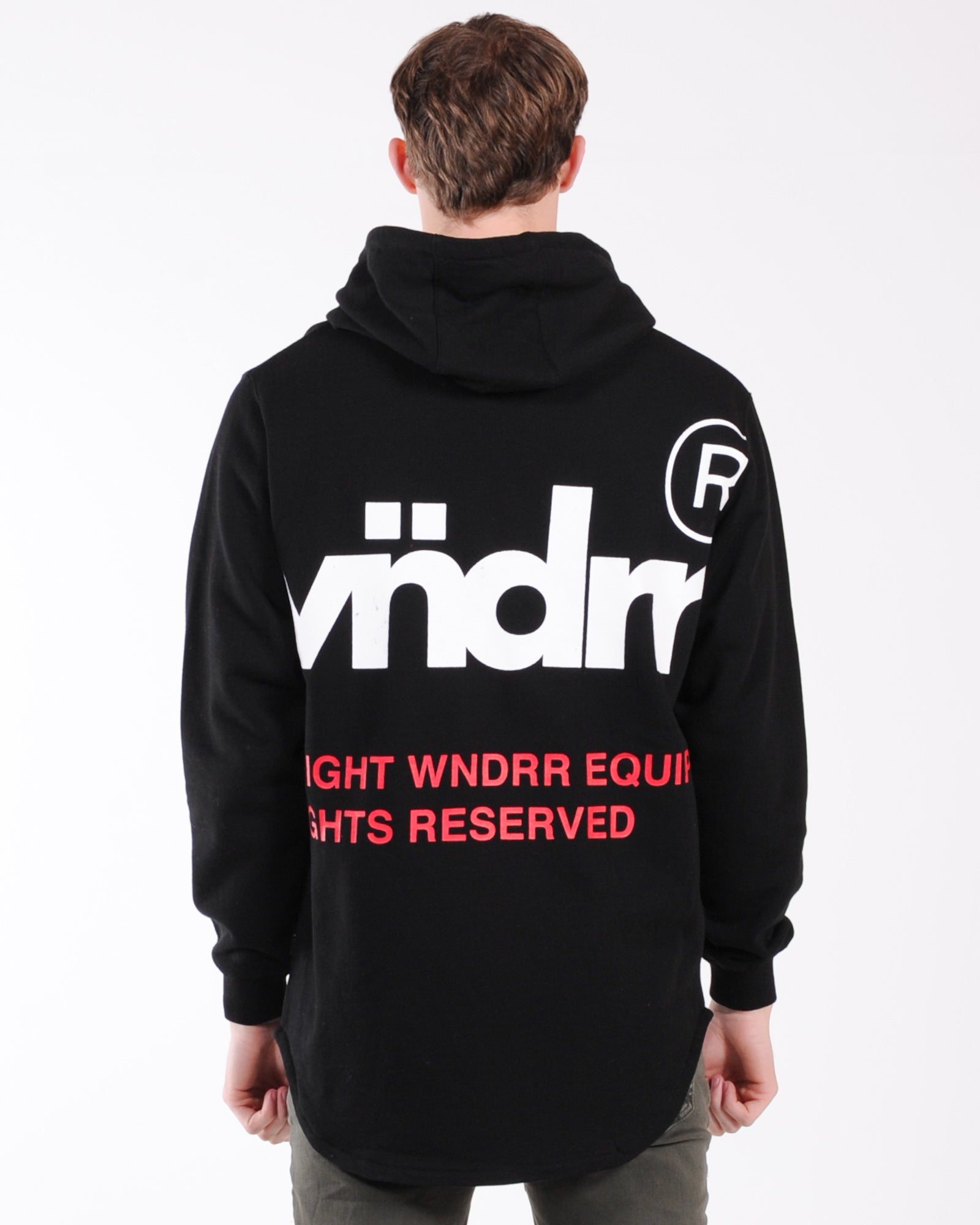 Wndrr Offcuts Curved Hem Hood Sweat - Black