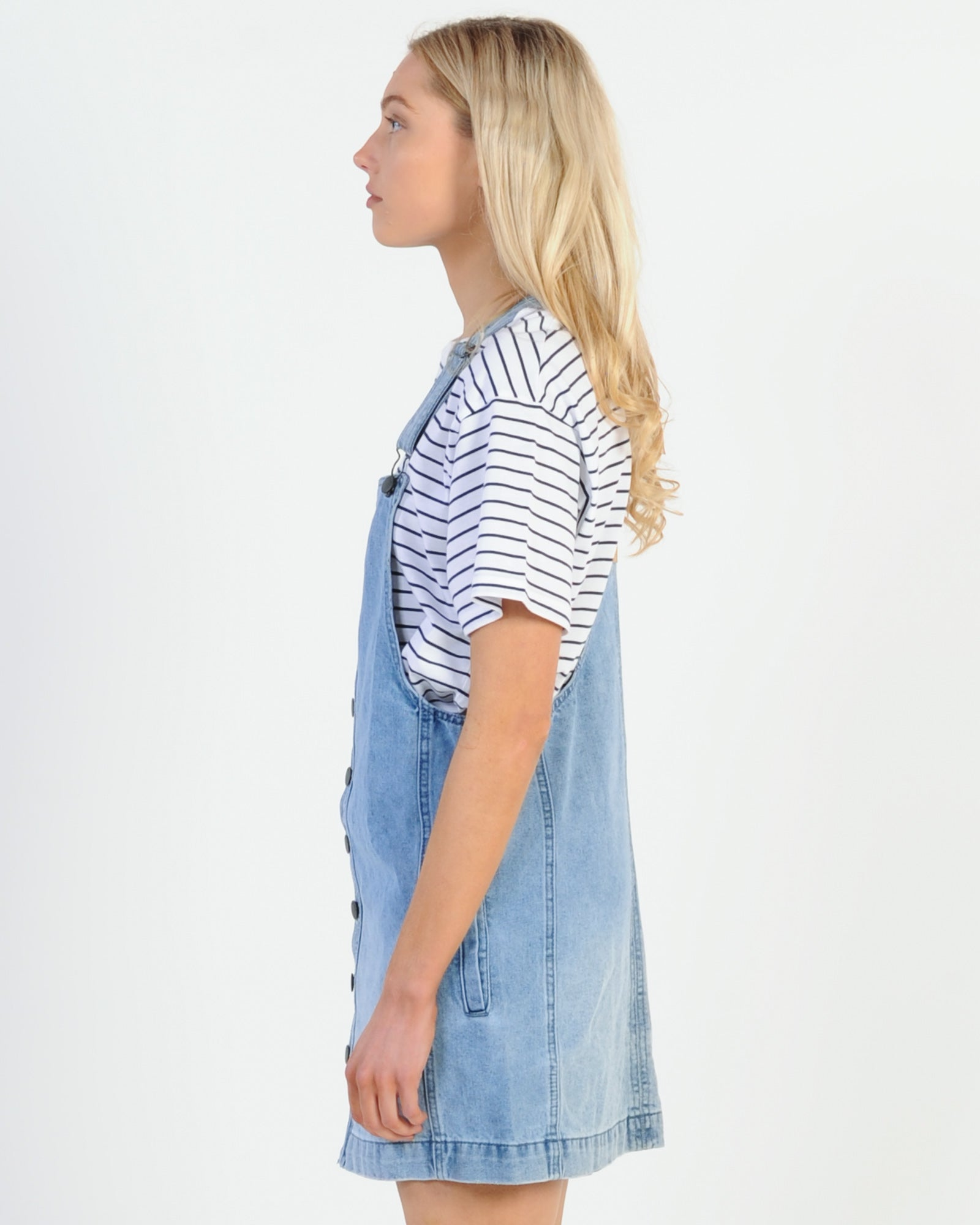 All About Eve Madeline Denim Pinafore - Mid Indigo