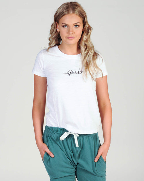 Afends Script Tee - White